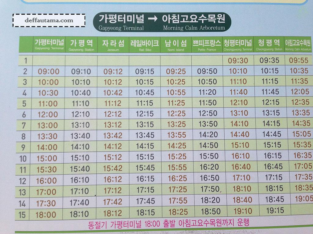 Cara Mudah dan Murah ke Nami Island - Shuttle Bus Schedule Berangkat
