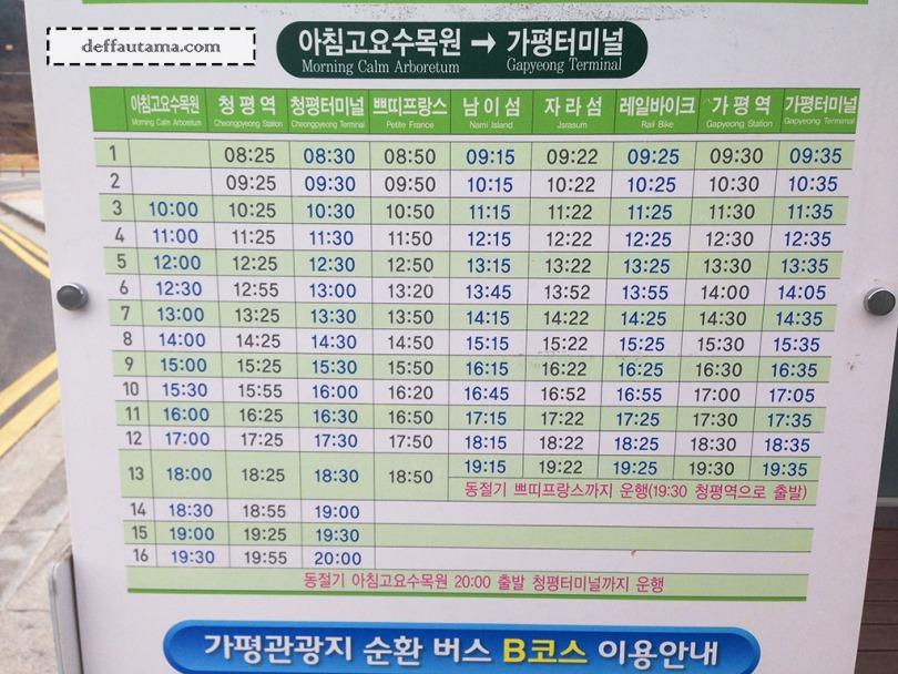 Cara Mudah dan Murah ke Nami Island - Shuttle Bus Schedule Pulang